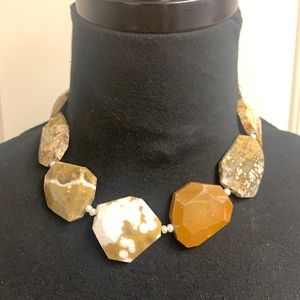Handmade Brown Beaded stone necklace